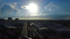 AERIAL - Sunset - Miami Dade roads Stock Footage