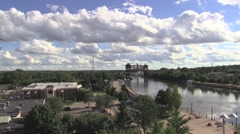 Time lapse of Joliet and canal during day with clouds Stock Footage