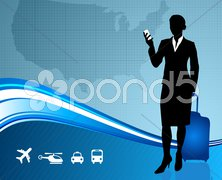 Business Traveler with United States map Stock Illustration