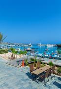 Ayia Napa City Beach and Coast Cafe, Cyprus Stock Photos