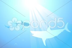 Sharks swimming in the ocean background Stock Illustration