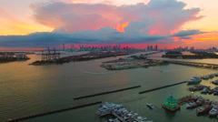 AERIAL - Sunset - Sky on fire in Miami Stock Footage