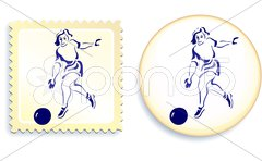 Female Soccer (football) player on button and stamp Piirros