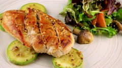 Grilled chicken breasts with vegetables Stock Footage