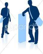 Handsome young man with duffle bag in silhouette Stock Illustration