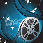 Film Reel on Blue Background Stock Illustration