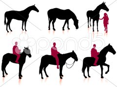 Horse and Jockey Silhouette Set Stock Illustration