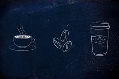 Cup with latte art, coffe beans & tumbler icons Stock Illustration