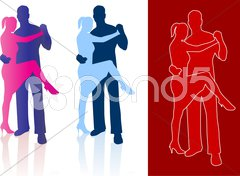 Tango dancers in silhouette Stock Illustration