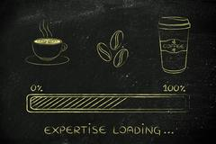 Coffee icons with progress bar loading expertise Stock Illustration