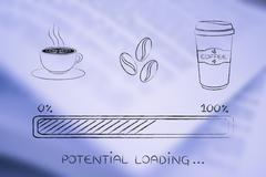 Coffee icons with progress bar loading potential Stock Illustration