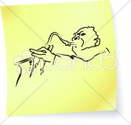 Live Jazz & Blues on a post-it note Stock Illustration