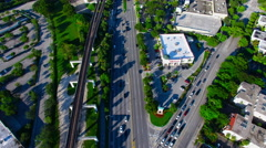 AERIAL - US 1 road in Miami looking to downtown Stock Footage