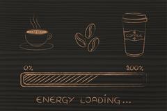 Coffee icons with progress bar loading awakeness, energy version Stock Illustration