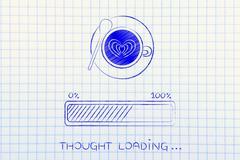 latte art coffee cup & progress bar loading thought - stock illustration