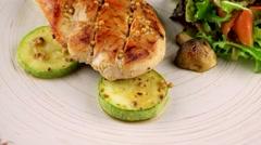 Chicken steak with vegetables Stock Footage