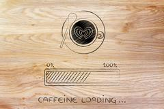 Latte art coffee cup & progress bar loading awakeness Stock Illustration