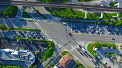 AERIAL - Spining at an intersection Stock Footage
