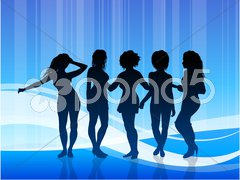 Sexy Young Women on Blue Abstract Background Stock Illustration