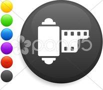 Camera reel icon on round internet button Stock Illustration
