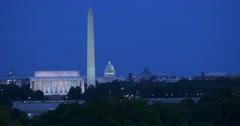 Washington DC skyline at dusk from near the Netherlands Carillon Stock Footage