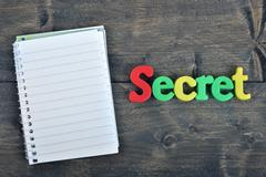 Secret on wooden table Stock Photos