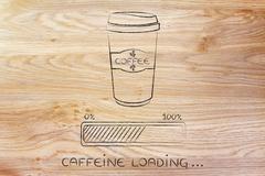 Coffee tumbler and progress bar loading awakeness Stock Illustration