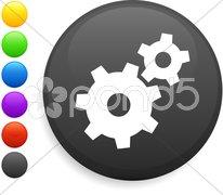 Machine part icon on round internet button Stock Illustration
