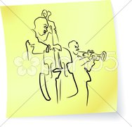 Live Jazz & Blues band on a post-it note Piirros