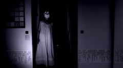 4k Halloween Shot of a Child Appearing in the door from darkness with a Mask Stock Footage