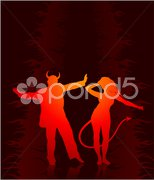 Party in hell with devil and shedevil Stock Illustration