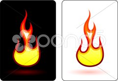 Flame and fire design elemets - stock illustration
