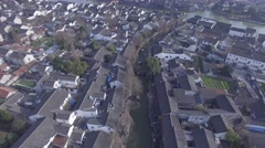 Aerial shot of water town village Stock Footage