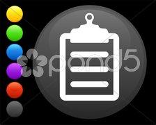 Clipboard icon on round internet button Stock Illustration