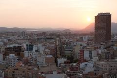 Alicante, Spain - SEPTEMBER 2015: View of the city at sunset Stock Photos