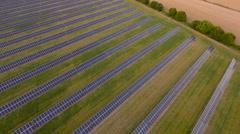 Solar battery farm pan around. Aerial Shot Stock Footage