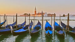 Parked gondolas on Piazza San Marco and The Doge's Palace embankment with the be Stock Footage