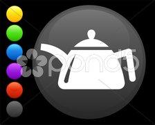 Tea kettle icon on round internet button Stock Illustration