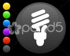Fluorescent light bulb icon on round internet button Stock Illustration