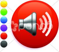Speaker icon on round internet button Stock Illustration