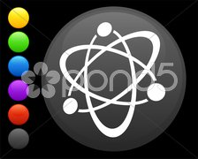 atom icon on round internet button - stock illustration