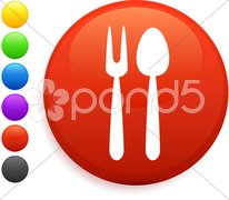Utensil icon on round internet button Stock Illustration