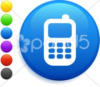 Cell phone icon on round internet button Stock Illustration