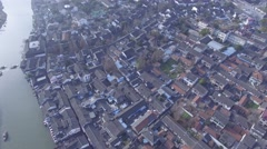 Aerial shot of old houses in China Stock Footage