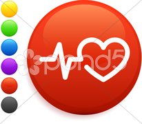 Heart rate icon on round internet button Stock Illustration