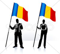 Business silhouettes with waving flag of Romania - stock illustration