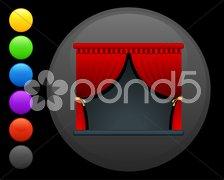 Curtains icon on round internet button Stock Illustration