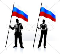 Business silhouettes with waving flag of Russia - stock illustration