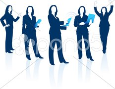 Young business woman silhouettes - stock photo