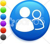 User group icon on round internet button Stock Illustration
